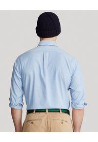 Ralph Lauren - RALPH LAUREN - Niebieska koszula Oxford Stretch Custom Fit. Typ kołnierza: button down, polo. Kolor: niebieski. Materiał: bawełna, tkanina, jeans. Długość rękawa: długi rękaw. Długość: długie. Wzór: haft. Styl: klasyczny