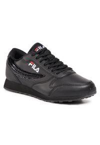 Czarne buty sportowe Fila na płaskiej podeszwie, z cholewką