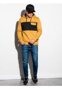 Ombre Clothing - Bluza męska z kapturem B1072 - musztardowa - XXL. Typ kołnierza: kaptur. Kolor: żółty. Materiał: bawełna, poliester