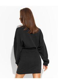 Pinko - PINKO - Czarna sukienka dresowa z logo Adelaide. Kolor: czarny. Materiał: dresówka. Wzór: nadruk. Typ sukienki: dopasowane