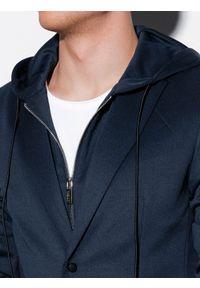 Ombre Clothing - Marynarka męska casual z kapturem M156 - granatowa - XXL. Okazja: na co dzień. Typ kołnierza: kaptur. Kolor: niebieski. Materiał: poliester, elastan. Styl: casual #4