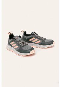 Szare buty sportowe Adidas na obcasie, na średnim obcasie