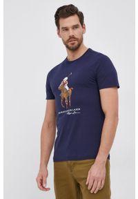 Polo Ralph Lauren - T-shirt bawełniany. Typ kołnierza: polo. Kolor: niebieski. Materiał: bawełna. Wzór: nadruk