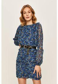 Niebieska sukienka ANSWEAR z długim rękawem, z okrągłym kołnierzem, dopasowana, w kwiaty