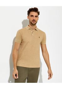 Ralph Lauren - RALPH LAUREN - Beżowa koszulka polo Mesh Slim Fit Stretch. Typ kołnierza: polo. Kolor: beżowy. Materiał: mesh. Wzór: melanż, ze splotem