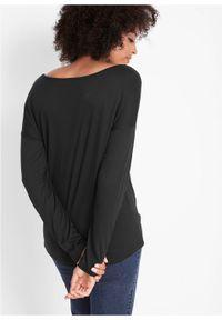 Czarna bluzka bonprix z krótkim rękawem, z aplikacjami, krótka