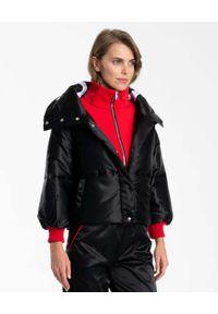 DSG - Czarna pikowana kurtka z logo. Kolor: czarny. Materiał: materiał