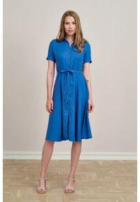 Marie Zélie - Sukienka Marina wiskoza z bawełną niebieska. Kolor: niebieski. Materiał: bawełna, wiskoza. Sezon: lato. Typ sukienki: szmizjerki