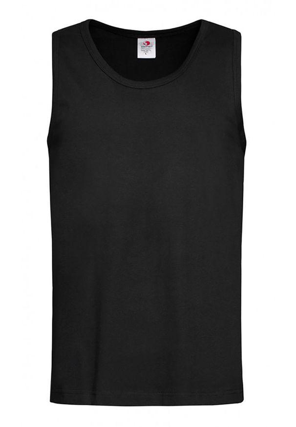 Czarny t-shirt Stedman casualowy, na co dzień, bez rękawów