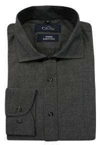 Chiao - Popielata Koszula Męska z Długim Rękawem, 100% Bawełna -CHIAO- Taliowana, Jednokolorowa. Okazja: do pracy, na spotkanie biznesowe. Kolor: szary. Materiał: bawełna. Długość rękawa: długi rękaw. Długość: długie. Wzór: aplikacja. Styl: biznesowy, elegancki #3