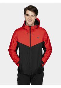 4f - Kurtka narciarska męska. Typ kołnierza: kaptur. Kolor: czerwony. Materiał: materiał, poliester. Sezon: zima. Sport: narciarstwo