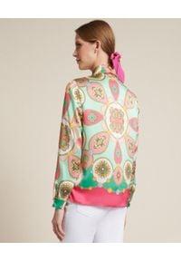 Luisa Spagnoli - LUISA SPAGNOLI - Jedwabna koszula Binomi. Kolor: biały. Materiał: jedwab. Wzór: geometria, nadruk