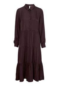 Soyaconcept Sukienka Pamela czerwonobrązowy female brązowy/czerwony M (40). Typ kołnierza: kołnierzyk koszulowy. Kolor: czerwony, brązowy, wielokolorowy. Materiał: tkanina. Długość rękawa: długi rękaw. Typ sukienki: koszulowe. Styl: elegancki