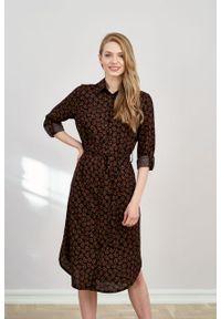 Marie Zélie - Sukienka Eliza Marguerite. Materiał: wiskoza, skóra. Długość rękawa: długi rękaw. Typ sukienki: szmizjerki. Styl: klasyczny