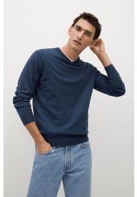 Niebieski sweter Mango Man długi, casualowy, na co dzień