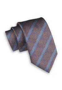 Pomarańczowo-Niebieski Męski Krawat -Chattier- 7,5cm, Klasyczny, Szeroki, Elegancki, w Paski. Kolor: niebieski. Materiał: tkanina. Wzór: prążki, paski. Styl: klasyczny, elegancki