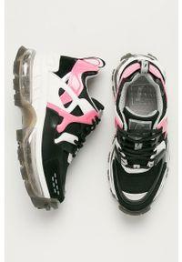 Czarne buty sportowe Emporio Armani na sznurówki, z okrągłym noskiem, z cholewką
