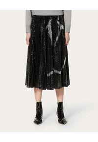 VALENTINO - Plisowana spódnica z Vlogo. Okazja: na imprezę, na spotkanie biznesowe. Kolor: czarny. Materiał: jersey, tkanina. Wzór: aplikacja. Styl: klasyczny, elegancki, biznesowy