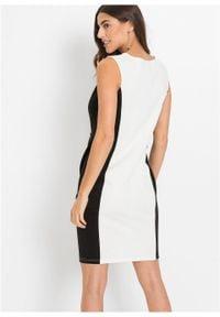 Sukienka ołówkowa z dżerseju, krótki rękaw bonprix biało-czarny. Typ kołnierza: dekolt w łódkę. Kolor: biały. Materiał: jersey. Długość rękawa: krótki rękaw. Typ sukienki: ołówkowe. Styl: elegancki