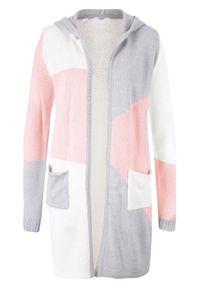 Sweter bez zapięcia z kapturem bonprix pastelowy jasnoróżowy - jasnoszary melanż - biel wełny. Typ kołnierza: kaptur. Kolor: różowy. Materiał: wełna, akryl, materiał. Wzór: melanż