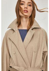 Beżowy płaszcz Max Mara Leisure gładki, klasyczny, na co dzień