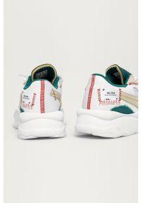 Białe sneakersy Puma z okrągłym noskiem, na obcasie, na sznurówki