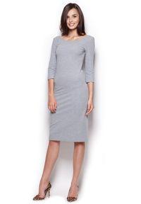 Figl - Midi Sukienka z Rękawem 3/4- Szara. Kolor: szary. Materiał: elastan, bawełna. Długość: midi