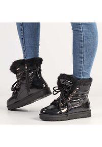 Czarne śniegowce damskie POTOCKI 16003. Kolor: czarny. Materiał: tkanina, skóra. Styl: klasyczny