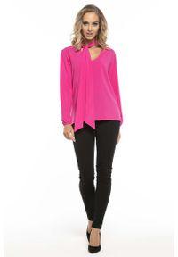 Różowa bluzka z długim rękawem Tessita elegancka, z dekoltem w serek