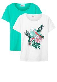 T-shirt dziewczęcy (2 szt. w opak.) bonprix biały-zielony morski + biały. Kolor: biały