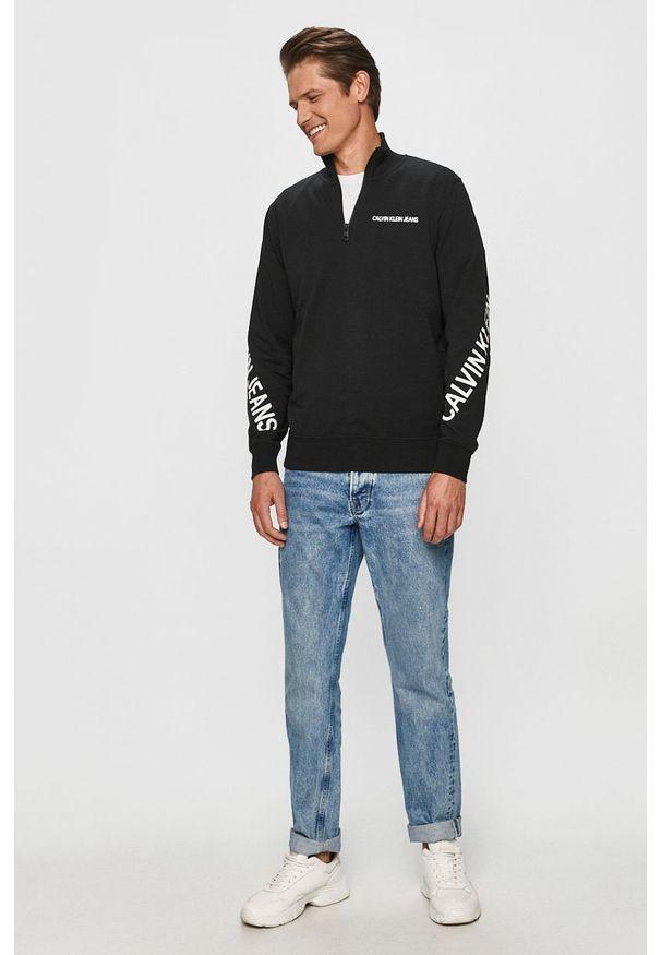 Czarna bluza nierozpinana Calvin Klein Jeans z nadrukiem, na co dzień, bez kaptura, casualowa