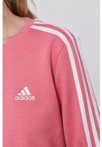 Adidas - adidas - Bluza. Okazja: na co dzień. Kolor: różowy. Materiał: bawełna, dzianina, poliester. Długość rękawa: długi rękaw. Długość: długie. Styl: casual