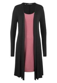 Sukienka w optyce 2 w 1, długi rękaw bonprix Sukienka czar-k.jeż wz dł.r. Kolor: czarny. Materiał: wiskoza, skóra. Długość rękawa: długi rękaw