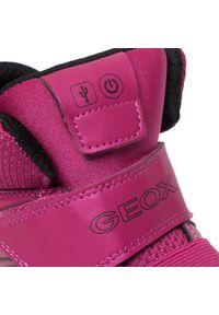 Geox - Sneakersy GEOX - J Xled G. A J848DA 0NF6K C8062 D Fuchsia/Black. Kolor: różowy. Materiał: skóra ekologiczna, materiał. Szerokość cholewki: normalna. Styl: młodzieżowy