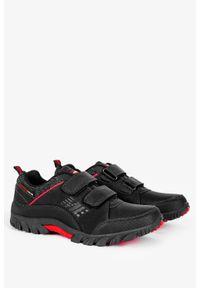Badoxx - Czarne buty trekkingowe na rzepy badoxx mxc8142/r. Zapięcie: rzepy. Kolor: wielokolorowy, czerwony, czarny