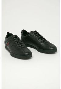 Czarne sneakersy Hugo z cholewką, na sznurówki, z okrągłym noskiem