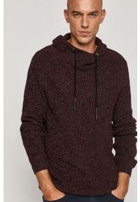 Brązowy sweter medicine z kapturem, na co dzień, casualowy, melanż