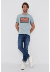 G-Star RAW - G-Star Raw - T-shirt bawełniany. Okazja: na co dzień. Kolor: niebieski. Materiał: bawełna. Wzór: nadruk. Styl: casual
