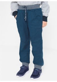 Spodnie chłopięce ocieplane na podszewce z dżerseju, Regular Fit bonprix ciemnoniebieski. Kolor: niebieski. Materiał: jersey, materiał, wiskoza, bawełna, elastan. Długość: długie