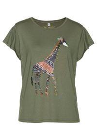 T-shirt z nadrukiem bonprix oliwkowy z nadrukiem. Kolor: zielony. Wzór: nadruk