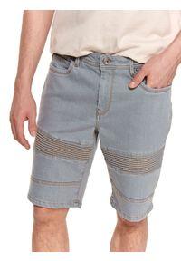 TOP SECRET - Męskie szorty jeansowe z fakturą. Kolor: szary. Materiał: jeans