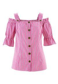 Bluzka w stylu ludowym, krótki rękaw bonprix fuksja - biały w kratę. Kolor: różowy. Materiał: koronka. Długość rękawa: krótki rękaw. Długość: krótkie. Wzór: koronka