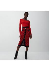 Reserved - Ołówkowa spódnica midi - Czerwony. Kolor: czerwony