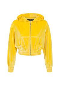 CUORI e PICCHE - Żółta bluza z kapturem. Typ kołnierza: kaptur. Kolor: żółty. Materiał: materiał. Długość rękawa: długi rękaw. Długość: długie. Styl: sportowy
