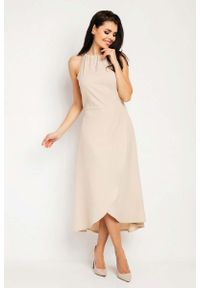 Nommo - Beżowa Wyjściowa Sukienka Asymetryczna z Wiązanym Dekoltem. Kolor: beżowy. Materiał: wiskoza, poliester. Typ sukienki: asymetryczne. Styl: wizytowy