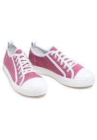 Nessi - Tenisówki NESSI - 21021 Róż. Kolor: różowy. Materiał: skóra, materiał. Obcas: na płaskiej podeszwie. Styl: elegancki, sportowy #3