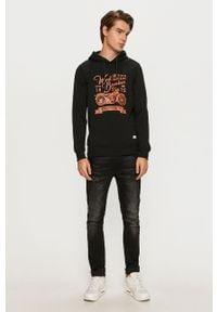 Czarna bluza nierozpinana PRODUKT by Jack & Jones casualowa, na co dzień, z nadrukiem, z kapturem