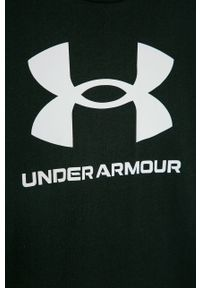 Czarny t-shirt Under Armour z nadrukiem, casualowy, na co dzień