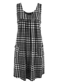 Sukienka z dżerseju z kieszeniami, wzorzysta bonprix czarno-biała krata vichy. Kolor: czarny. Materiał: jersey. Długość rękawa: na ramiączkach