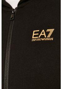 Czarna bluza rozpinana EA7 Emporio Armani na co dzień, z aplikacjami